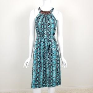 Michael Kors Python Print Belted Midi Dress Small